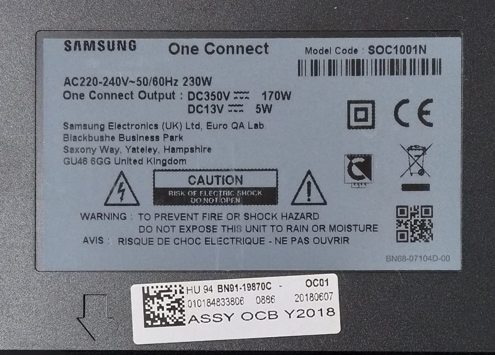 BN91-19870C - Modulo completo one-connect Samsung QE55Q8CNAT - Pannello CY-XN066FLAV2H TV Modules