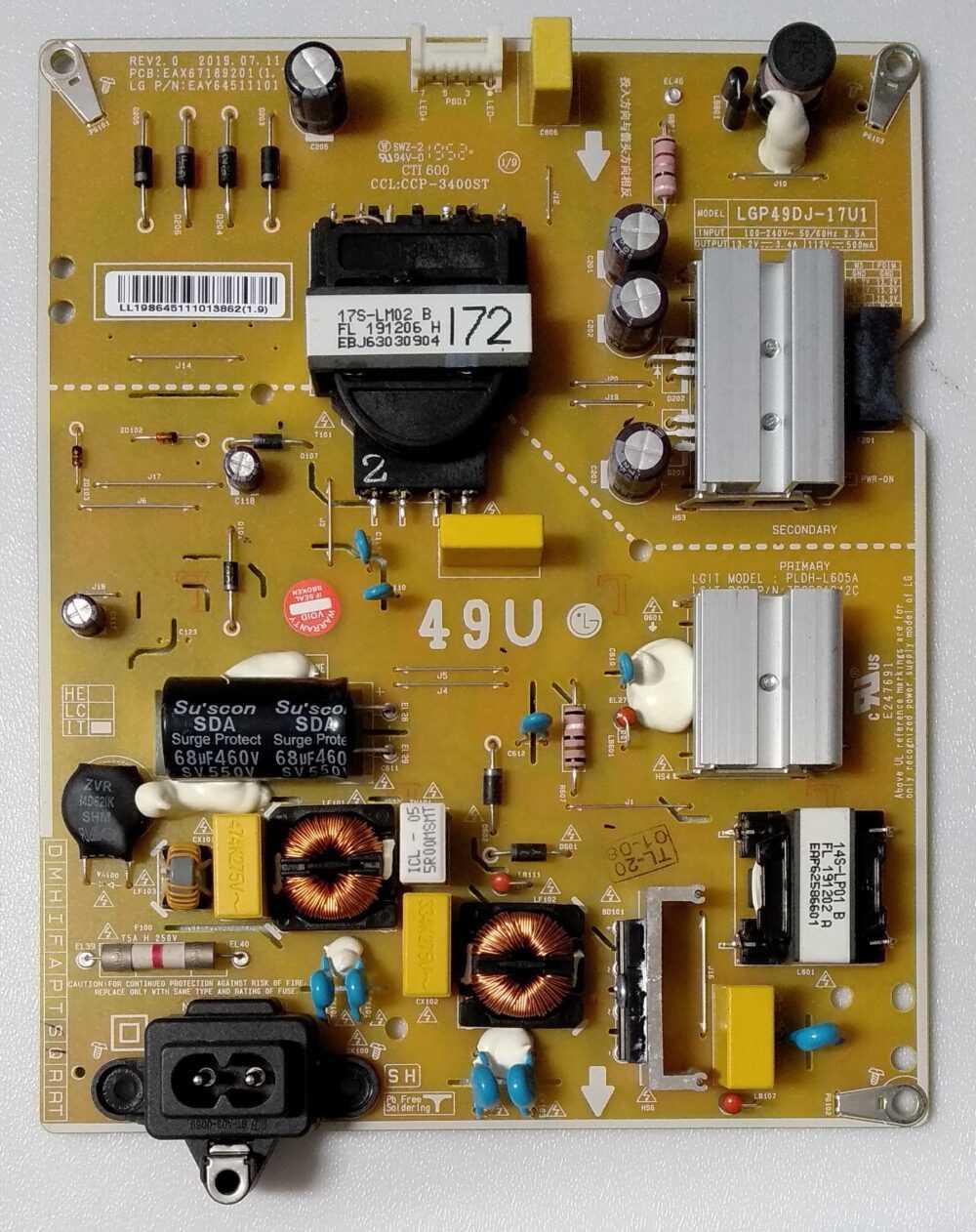 EAX67189201 (1.7) - EAY64511101 - Modulo power LG 49UM7050PFL - Pannello HC490DGG-SLTLA-A19X TV Modules